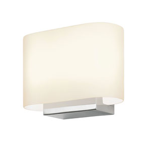 Link Polished Chrome LED 8-Inch Wall Sconce with White Etched Glass