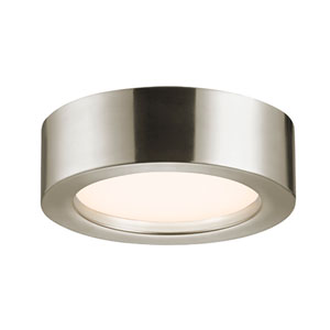 Puck Slim Satin Nickel LED 8-Inch Flush Mount