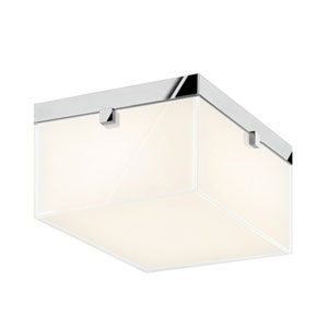 Parallel Polished Chrome LED Flush Mount with Clear Edge Glass