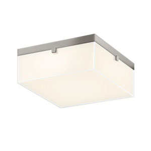 Parallel Satin Nickel LED 12.5-Inch Flush Mount with Clear Edge Glass