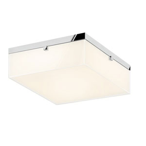 Parallel Polished Chrome LED 15.5-Inch Flush Mount with Clear Edge Glass