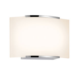 Wave Polished Chrome LED One Light Wall Sconce with White Etched Glass