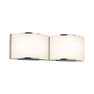 Wave Polished Chrome LED Two Light Bath Fixture with White Etched Glass