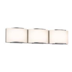 Wave Satin Nickel LED 24.75-Inch Three Light Bath Fixture