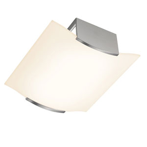 Wave Satin Nickel Four-Light Semi-Flush Mount with White Etched Shade