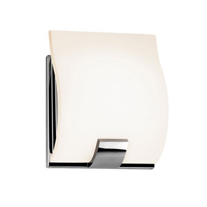 Aquo Polished Chrome LED One Light Wall Sconce with White Etched Glass