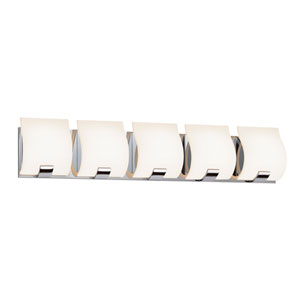 Aquo Polished Chrome LED 29.5-Inch Five Light Bath Fixture