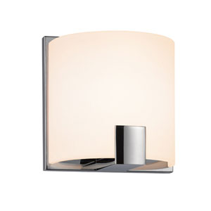 C-Shell Polished Chrome LED 5-Inch Wall Sconce with White Etched Glass