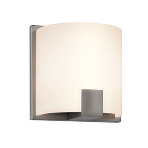 C-Shell Satin Nickel LED 5-Inch Wall Sconce with White Etched Glass