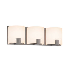 C-Shell Satin Nickel LED 16-Inch Three Light Bath Fixture