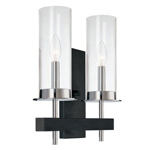 Tuxedo Chrome and Black Double Sconce