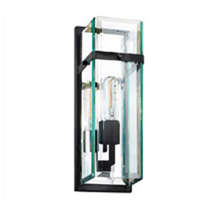 Mercer Street One-Light - Satin Black with Clear Beveled Glass - Wall Sconce