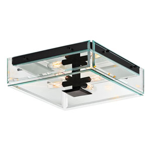 Mercer Street Satin Black Four-Light Flush Mount with Clear Beveled Shade
