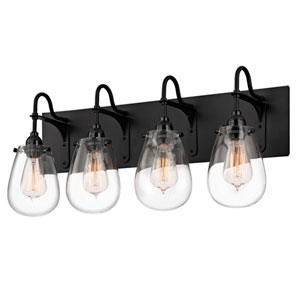 Chelsea Satin Black 26.25-Inch Four Light Bath Fixture with Clear Glass