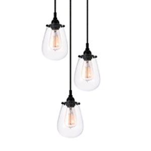 Chelsea Three-Light - Satin Black with Clear Glass - Pendant