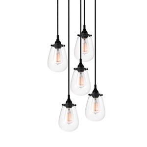 Chelsea Satin Black Five-Light Pendant with Clear Shade