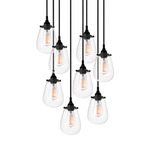 Chelsea Satin Black Eight-Light Pendant with Clear Shade