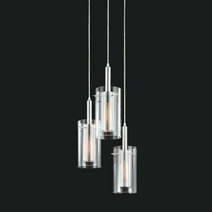 Zylinder Satin Black with Chrome Three-Light Pendant