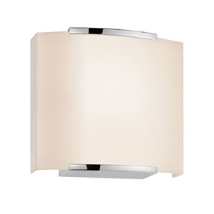 Wave Shade Polished Chrome One-Light Wide Wall Sconce with Off-White Shade