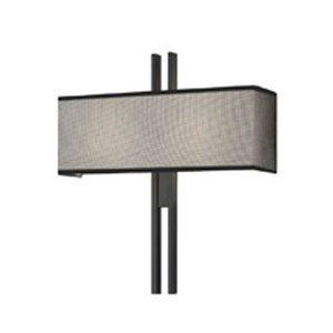 Tandem Two-Light - Satin Black with Black Mesh on White Cotton Shade - Wide Wall Sconce