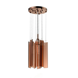 Chimes Polished Bronze One-Light Round Pendant with Bronze Shade