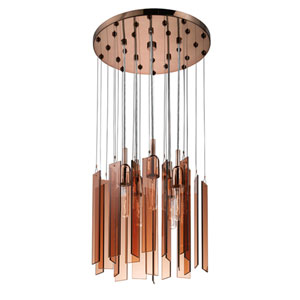 Chimes Polished Bronze Five-Light Round Pendant with Bronze Shade