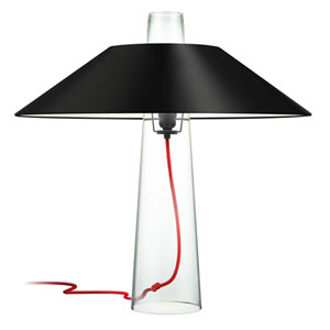 Sky Clear Glass One-Light Table Lamp with Black Shade