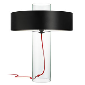 Level Clear Glass One-Light Table Lamp with Black Shade