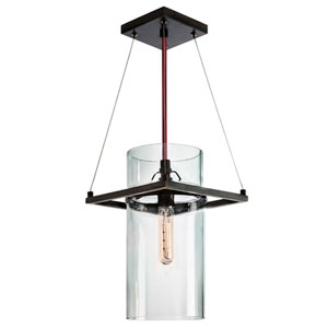 Square Ring Satin Black 9-Inch One Light Mini Pendant with Clear Glass