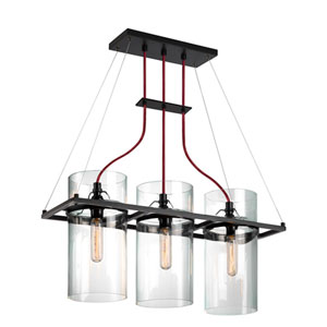 Square Ring Satin Black 25.5-Inch Three Light Pendant with Clear Glass