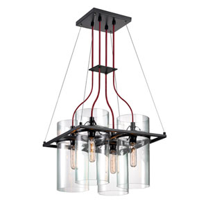 Square Ring Satin Black 17-Inch Four Light Pendant with Clear Glass