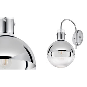 Apollo One-Light - Polished Chrome with Half - Mercury Glass - Wall Sconce