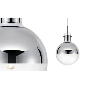 Apollo One-Light - Polished Chrome with Half - Mercury Glass - Pendant