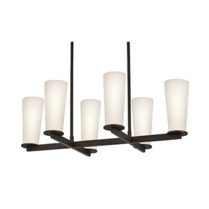 High Line Six-Light - Black Bronze with White Etched Cased Glass - Pendant
