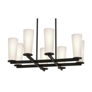 High Line Eight-Light - Black Bronze with White Etched Cased Glass - Pendant
