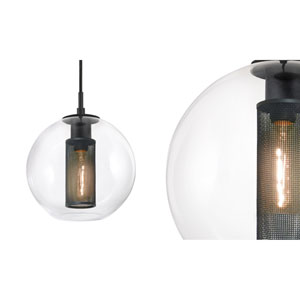 Tribeca 10 Inch One-Light - Textured Black with Clear Glass - Pendant