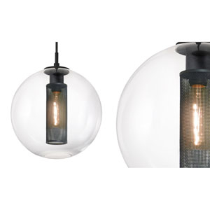 Tribeca 12 Inch One-Light - Textured Black with Clear Glass - Pendant