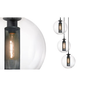 Tribeca 12 Inch Three-Light - Textured Black with Clear Glass - Pendant