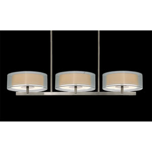 Puri Six-Light - Satin Nickel with Silver Organza Shade - Pendant