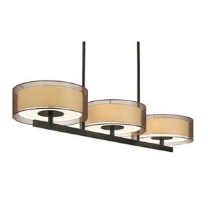 Puri Six-Light - Black Brass with Bronze Organza Shade - Pendant
