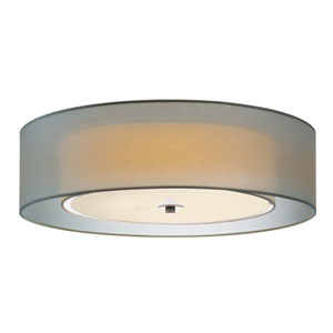 Puri Satin Nickel 22-Inch Three Light Flush Mount
