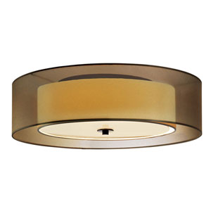 Puri Black Brass Three-Light Flush Mount