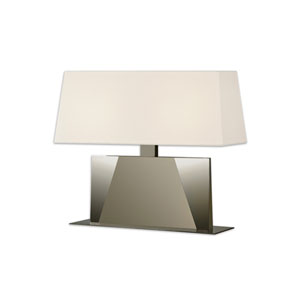 Facet Banquette Satin Nickel 22-Inch Two Light Table Lamp