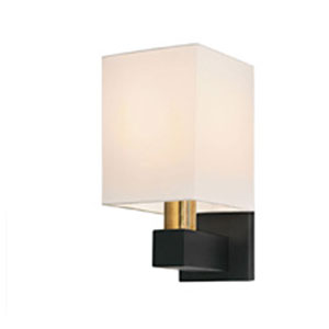 Cubo One-Light - Natural Brass and Black with Off - White Linen Shade - Wall Sconce