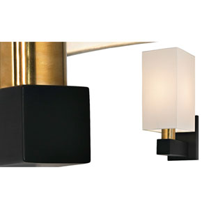 Cubo One-Light - Natural Brass and Black with Off - White Linen Shade - Large Wall Sconce