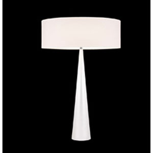 Big Table Cone Satin White Three-Light Table Lamp with Off-White Shade