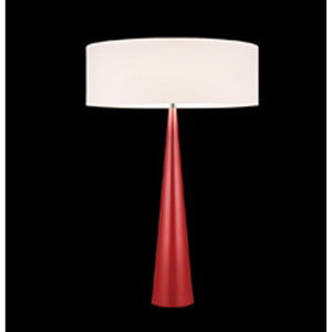 Big Table Cone Satin Red Three-Light Table Lamp with Off-White Shade