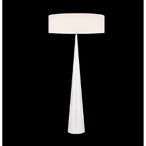 Big Floor Cone Satin White Three-Light Floor Lamp with Off-White Shade