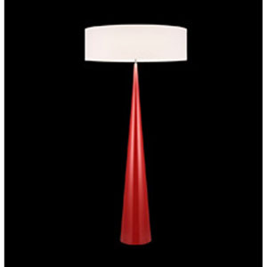 Big Floor Cone Satin Red Three-Light Floor Lamp with Off-White Shade