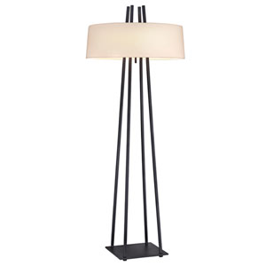 West 12th Anthracite Two-Light Floor Lamp with Off-White Shade